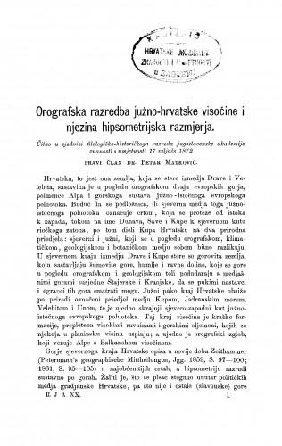 Orografska razredba južno-hrvatske visočine i njezina hipsometrijska razmjerja : RAD