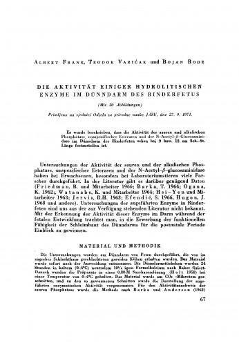 Die Aktivität einiger hydrolitischen Enzyme im Dünndarm des Rinderfetus