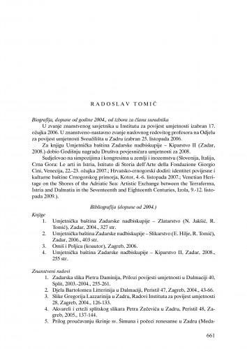 Radoslav Tomić : Ljetopis