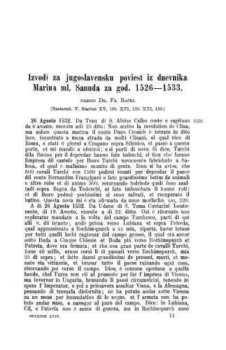 Izvodi za jugoslavensku poviest iz dnevnika Marina ml. Sanuda za god. 1526-1533. / Franjo Rački