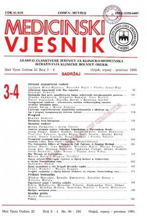 God. 25, br. 3-4(1993) : Medicinski vjesnik