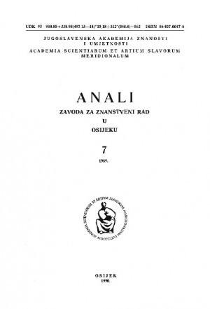 Knj. 7 (1989) : Anali Zavoda za znanstveni i umjetnički rad u Osijeku