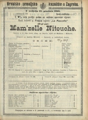 Mam'telle Nitouche : Opereta u tri čina (četiri slike)