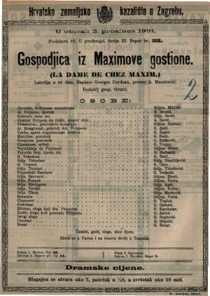 Gospodjica iz Maximove gostione lakrdija u tri čina / napisao Georges Feydeau