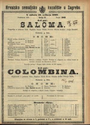 Saloma ; Colombina Tragedija u jednom činu ; Bajazzada u jednom činu