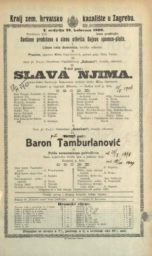 Slava njima ; Baron Tamburlanović ili Pelda nerazumnoga potrošlivca Dramatska ilustracija Bukovčeve zavjese ; Stara kajkavska vesela igra u 1 činu