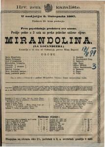 Mirandolina komedija u tri čina / od Goldoni-ja