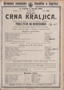 Crna kraljica izvorna čarobna gluma u tri čina s pjevanjem i predigrom: Prokletstvo na Medvedgradu / napisao Josip Freudenreich