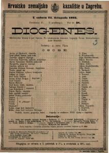 Diogenes : historijska drama u pet činova / po istoimenom roanu Augusta Šenoe dramatizovao ANte Benešić