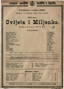 Cvijeta i Miljenko tragedija u pet činova / od Ferde Ž. Milera