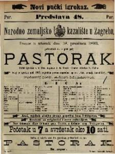 Pastorak : Pučki igrokaz u 4 čina / napisao J. E. Tomić