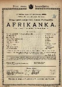 Afrikanka : Velika opera u 5 činova / Glazba od Mayerbeera