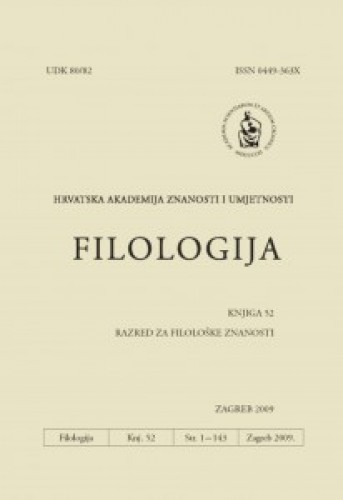 Knj. 52(2009) : Filologija : časopis Razreda za filološke znanosti Hrvatske akademije znanosti i umjetnosti