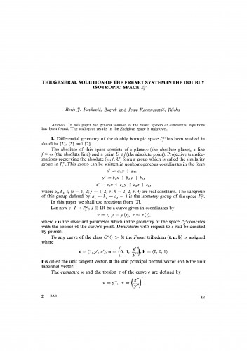 The general solution of the Frenet system in the doubly isotropic space I3(2)