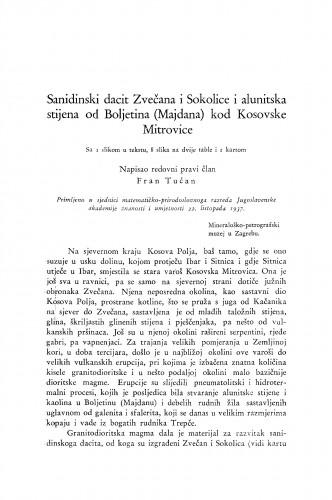 Sanidinski dacit Zvečana i Sokolice i alunitska stijena od Boljetina (Majdana) kod Kosovske Mitrovice