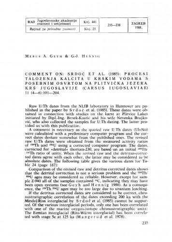 Comment on: Srdoč et al. (1985): Procesi taloženja kalcita u krškim vodama s posebnim osvrtom na Plitvička Jezera. Krš Jugoslavije (Carsus Iugoslaviae) 11 (4-6): 101-204