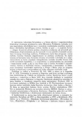 Miroslav Feldman (1899-1976) : [nekrolozi] / S. Batušić
