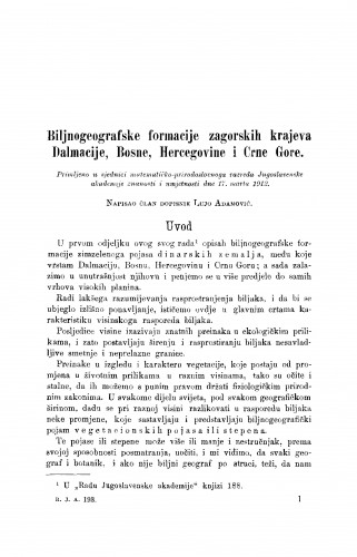 Biljnogeografske formacije zagorskih krajeva Dalmacije, Bosne, Hercegovine i Crne Gore
