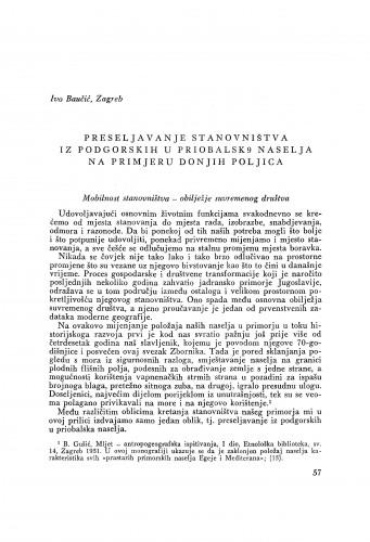Preseljavanje stanovništva iz podgorskih u priobalska naselja na primjeru Donjih Poljica / I. Baučić