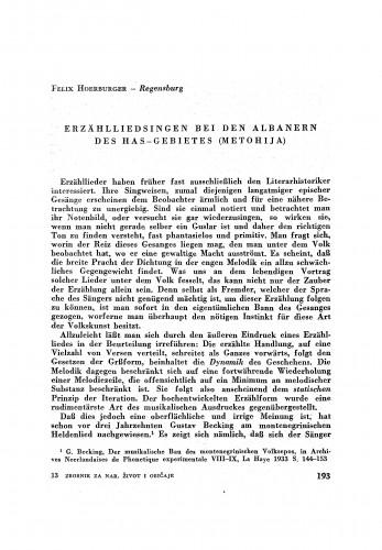 Erzählliedsingen bei den Albanern des Has-Gebietes (Metohija) / F. Hoerburger