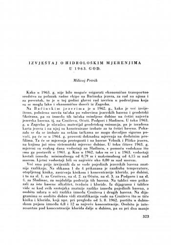 Izvještaj o hidrološkim mjerenjima u 1963. god / M. Petrik