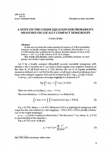 A note on the cosine equation for probability measures on locally compact semigroups
