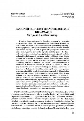 Europski kontekst hrvatske i diplomacije (Povijesno-filozofski pristup)