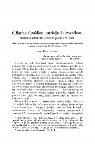 O Marinu Getaldiću, patriciju dubrovačkom, znamenitom matematiku i fiziku na početku XVII. vijeka