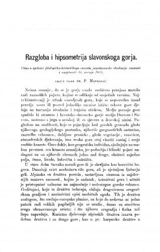 Razgloba i hipsometrija slavonskoga gorja : RAD