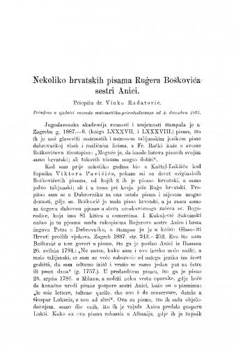 Nekoliko hrvatskih pisama Rugera Boškovića sestri Anici