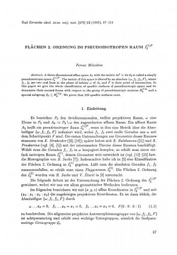Flächen 2. Ordnung im pseudoisotropen Raum I3(1)P