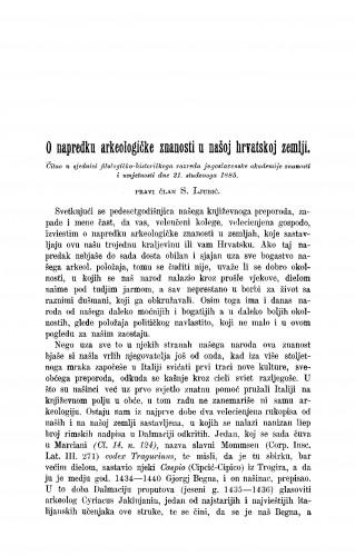 O napredku arkeologičke znanosti u našoj hrvatskoj zemlji : RAD