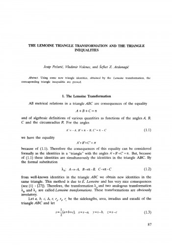 The Lemoine triangle transformation and the triangle inequalities