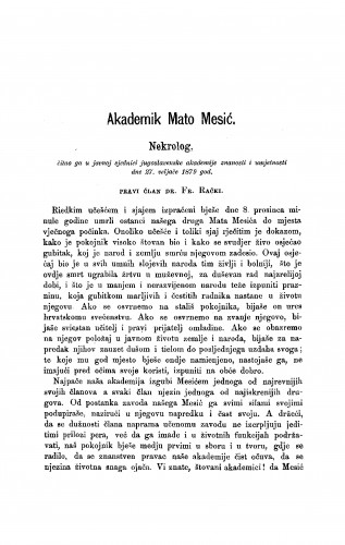 Akademik Mato Mesić : nekrolog : RAD