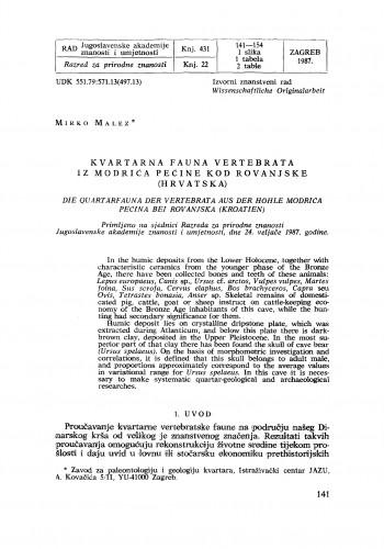 Kvartarna fauna vertebrata iz Modrića pećine kod Rovanjske (Hrvatska)