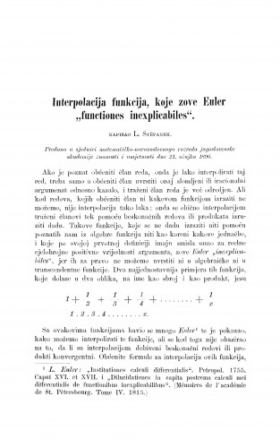 Interpolacija funkcija, koje zove Euler