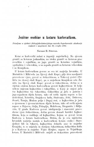 Jezične osobine u kotaru karlovačkom