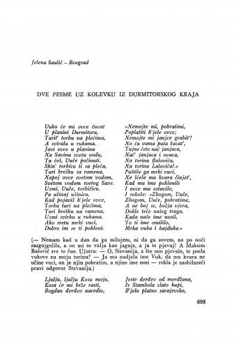 Dve pesme uz kolevku iz durmitorskog kraja / J. Šaulić
