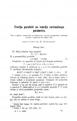 Teorija parabole na temelju racionalnoga parametra