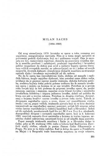 Milan Sachs (1884-1968) : [nekrolog] / J. Andreis