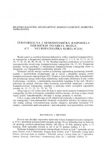 Teritorijalna i hemodinamička raspodjela ishemičkih infarkta mozga (CT-Neuropatološka korelacija)