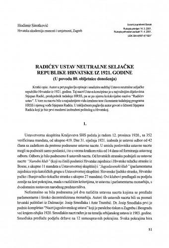 Radićev Ustav neutralne seljačke republike Hrvatske iz 1921. godine : u povodu 80. obljetnice donošenja