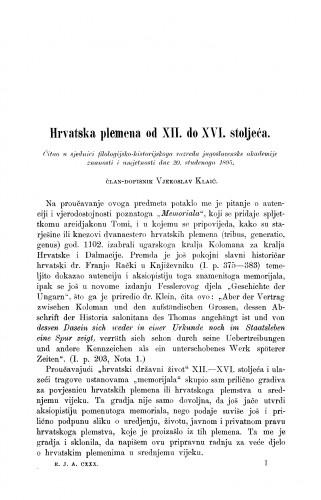 Hrvatska plemena od XII. do XVI. stoljeća