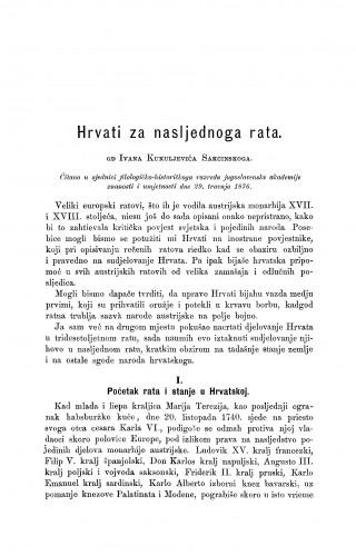 Hrvati za nasljednoga rata : RAD