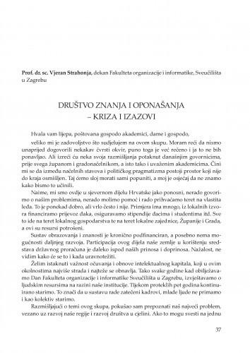 Društvo znanja i oponašanja - kriza i izazovi : [uvodno izlaganje] : Posebna izdanja / Hrvatska akademija znanosti i umjetnosti, Zavod za znanstveni rad u Varaždinu