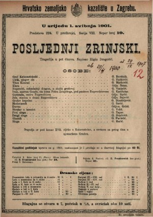 Posljednji Zrinjski tragedija u pet činova / napisao Higin Dragošić