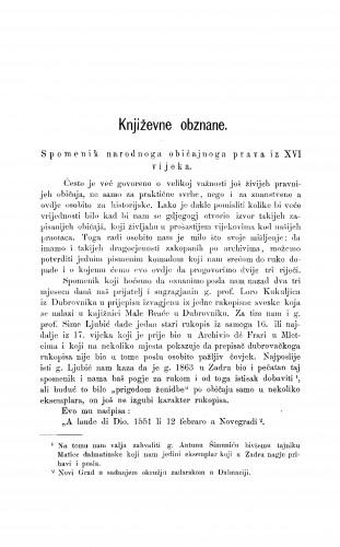 Spomenik narodnoga običajnoga prava iz XVI. vijeka : [književna obznana] : RAD