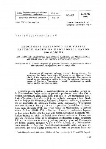 Miocenski gastropod Semicassis saburon nađen u Medvednici nakon 100 godina