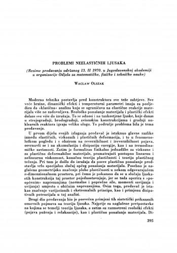 Problemi neelastičnih ljusaka : (rezime predavanja održanog 13. II 1970. u Jugoslavenskoj akademiji u organizaciji Odjela za matematičke, fizičke i tehničke nauke) / W. Olszak