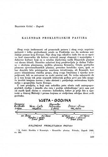 Kalendar prokletijskih pastira / B. Gušić